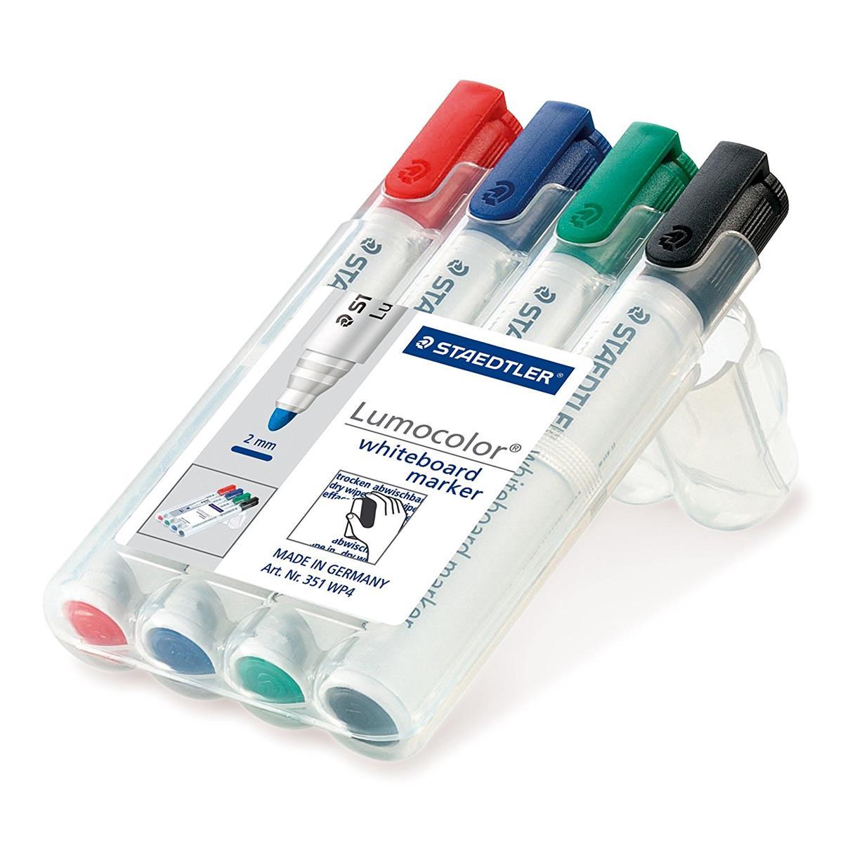 Image for Staedtler 351 White Board Marker Pen Locked Tip 2mm Line Assorted Ref 351 WP4 [Wallet 4]