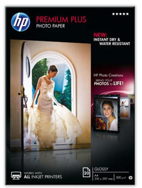 Image for Hewlett Packard [HP] Premium Plus Photo Paper Glossy 300gsm A4 Ref CR672A [20 Sheets]