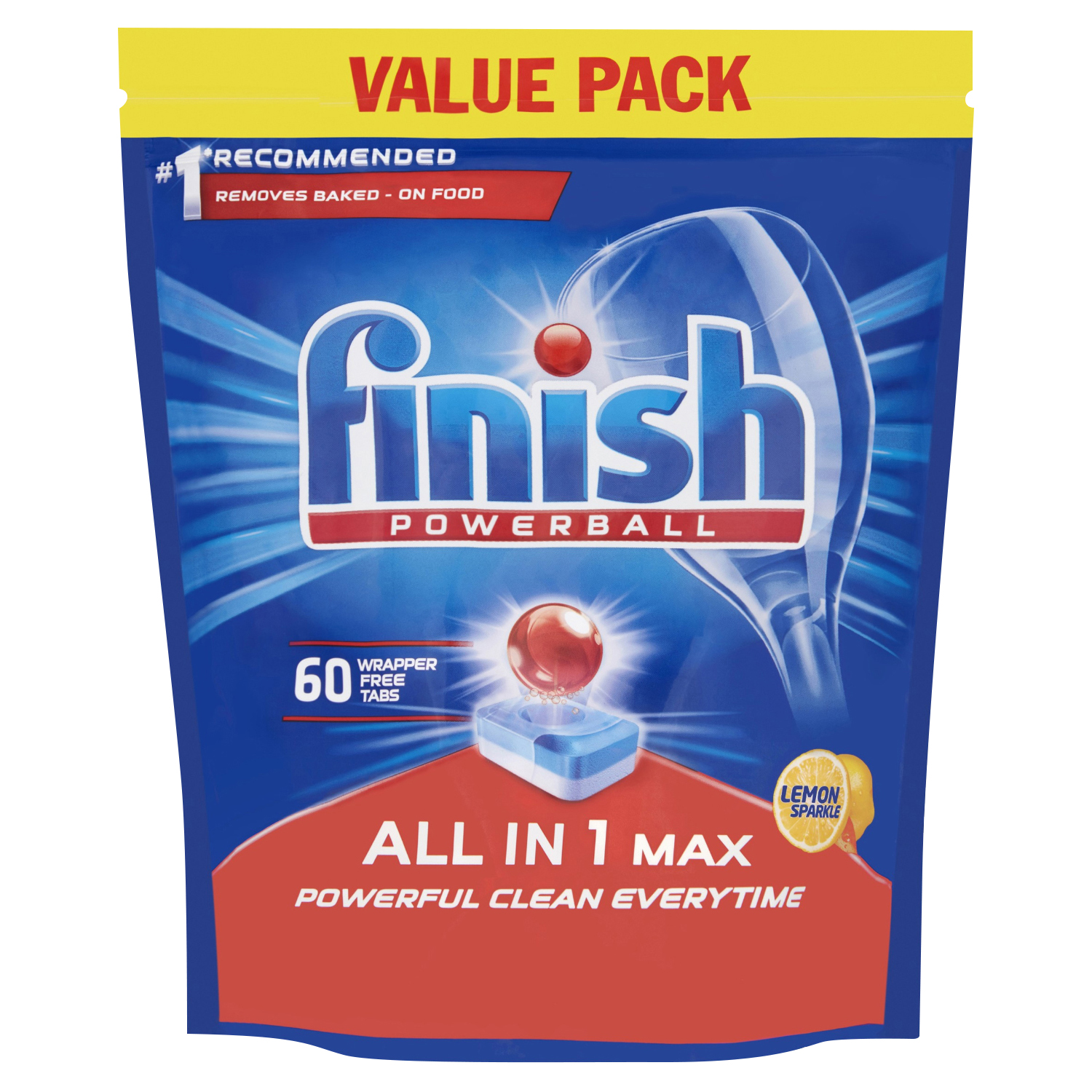 Dishwashing products Finish Dishwasher Powerball Tablets All-in-1 Ref Lemon RB797723 [Pack 60]