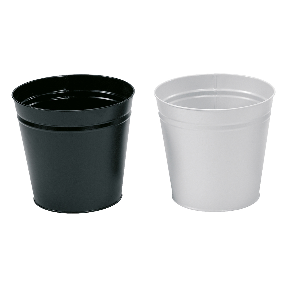 Business Waste Bin Round Metal Scratch Resistant D300xH280mm 15 Litres Black