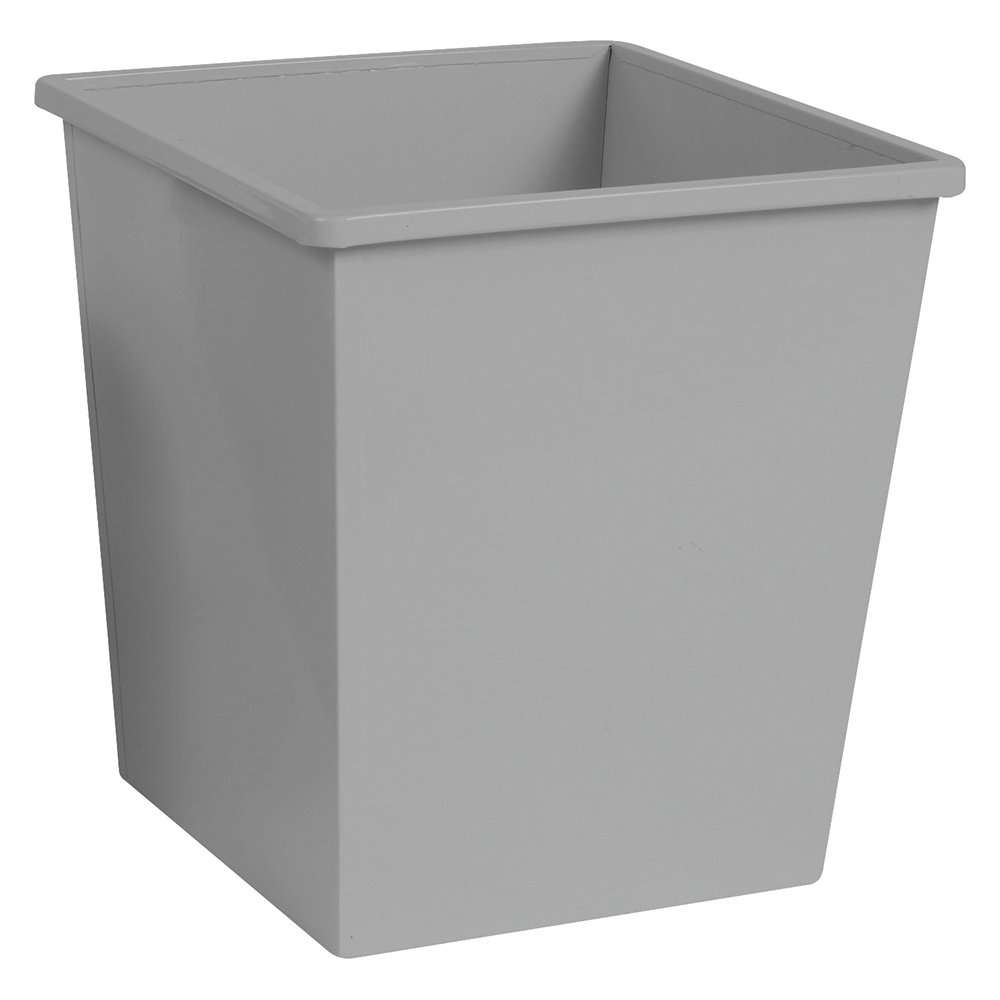 Business Waste Bin Square Metal Scratch Resistant W325xD325xH350mm 27 Litres Silver Metallic