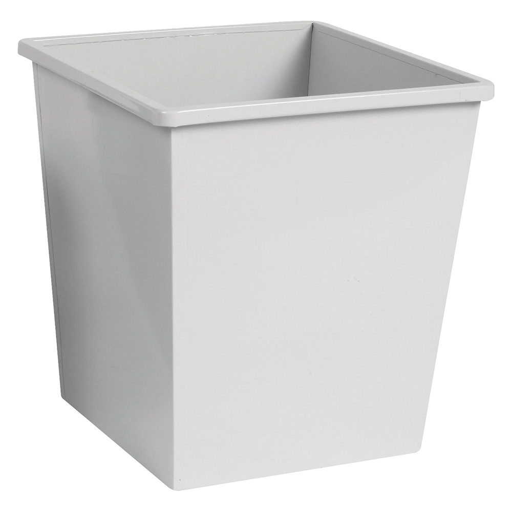 Business Waste Bin Square Metal Scratch Resistant W325xD325xH350mm 27 Litres Grey