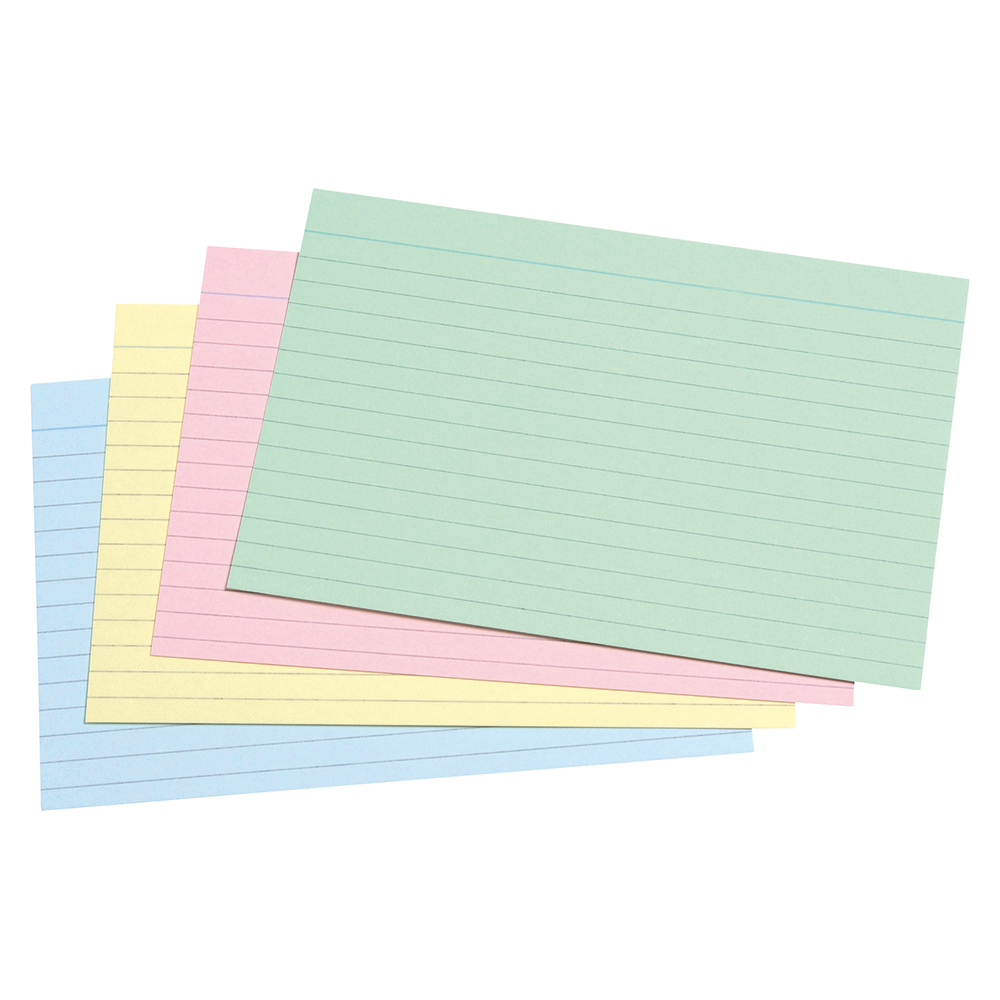 Business Record Cards Ruled Both Sides 6x4in 152x102mm Assorted [Pack 100]