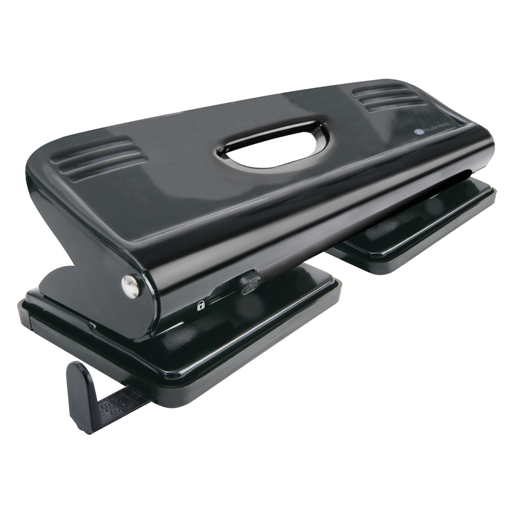 Business Punch 4-Hole Metal with Plastic Base Capacity 16x 80gsm Black
