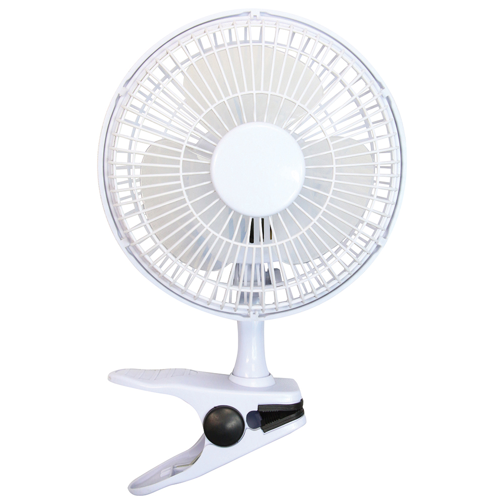 Business Clip-On Fan with Tilt for Desk or Shelf 2-Speed 15W 152mm