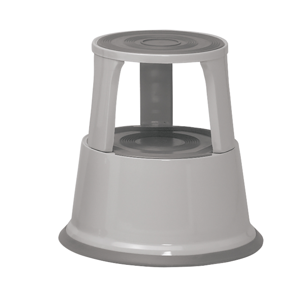 Business Step Stool Mobile Spring-loaded Castors Max 150kg Top D290xH430xBase D435mm 5kg Grey