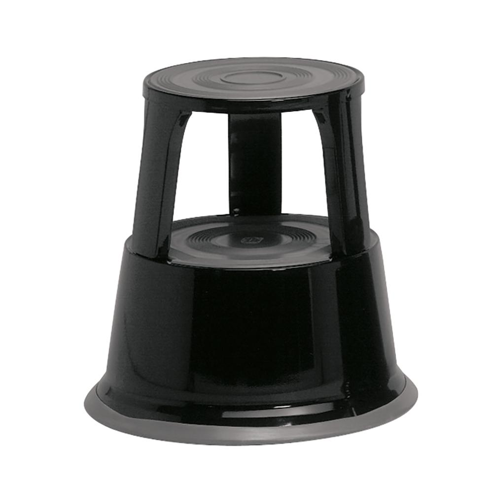 Business Step Stool Mobile Spring-loaded Castors Max 150kg Top D290xH430xBase D435mm 5kg Black