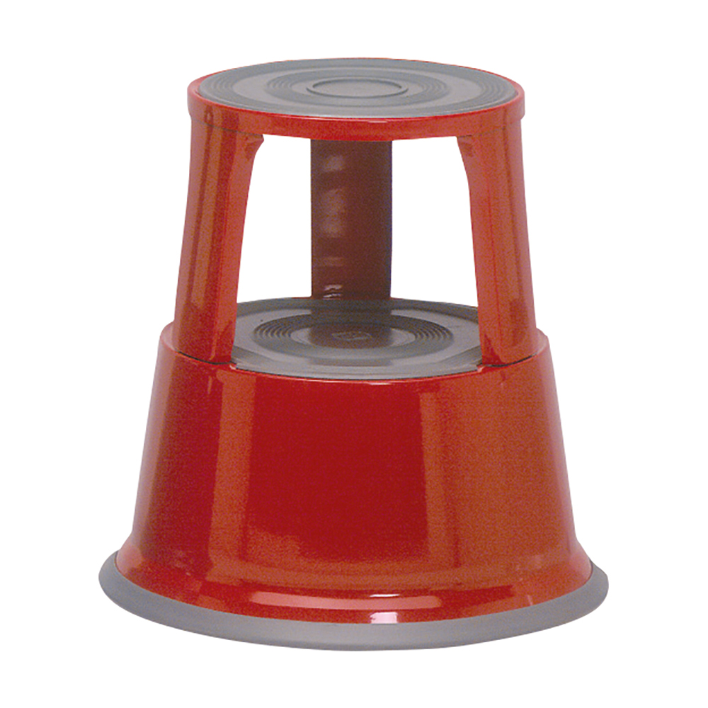 Business Step Stool Mobile Spring-loaded Castors Max 150kg Top D290xH430xBase D435mm 5kg Red