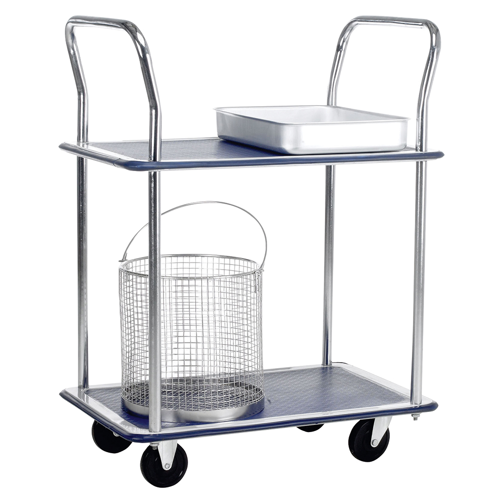 Business Trolley Steel Frame Non Marking Wheels Capacity 120kg 2 Shelf Chrome