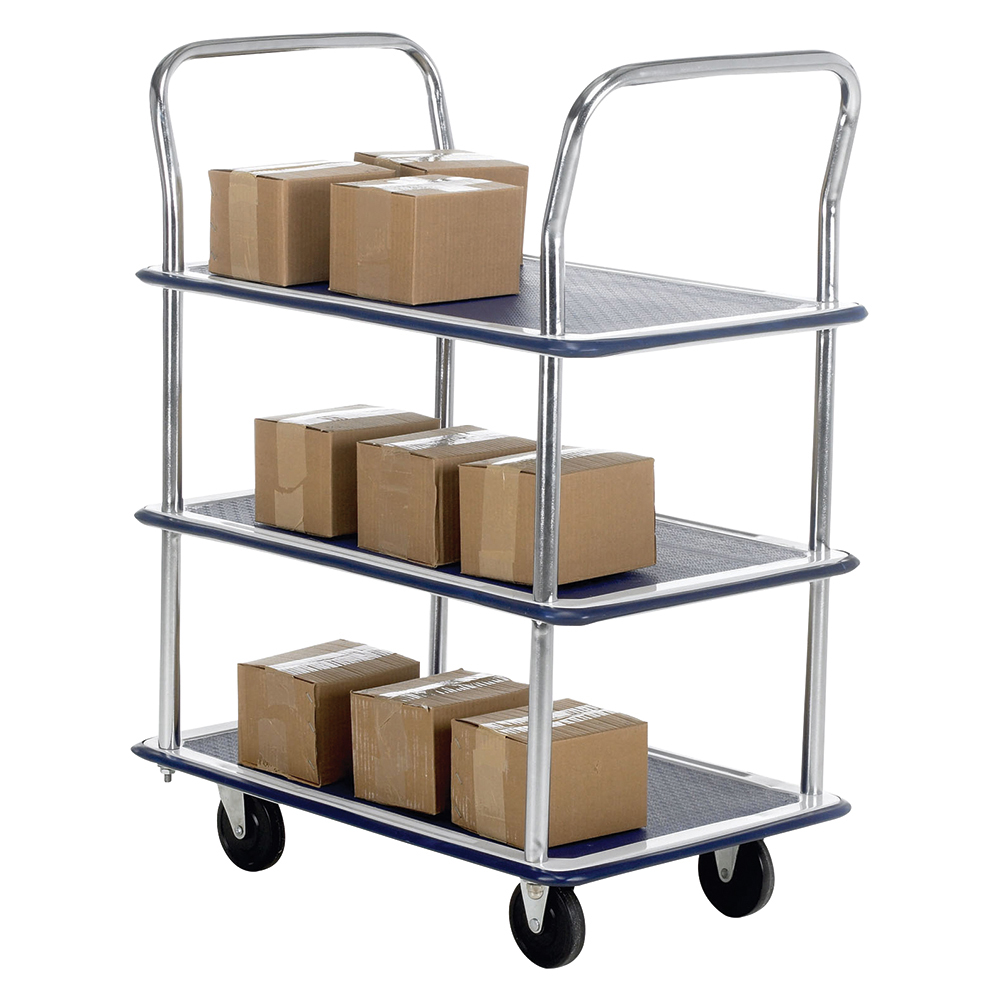 Business Trolley Steel Frame Non Marking Wheels Capacity 120kg 3 Shelf Chrome