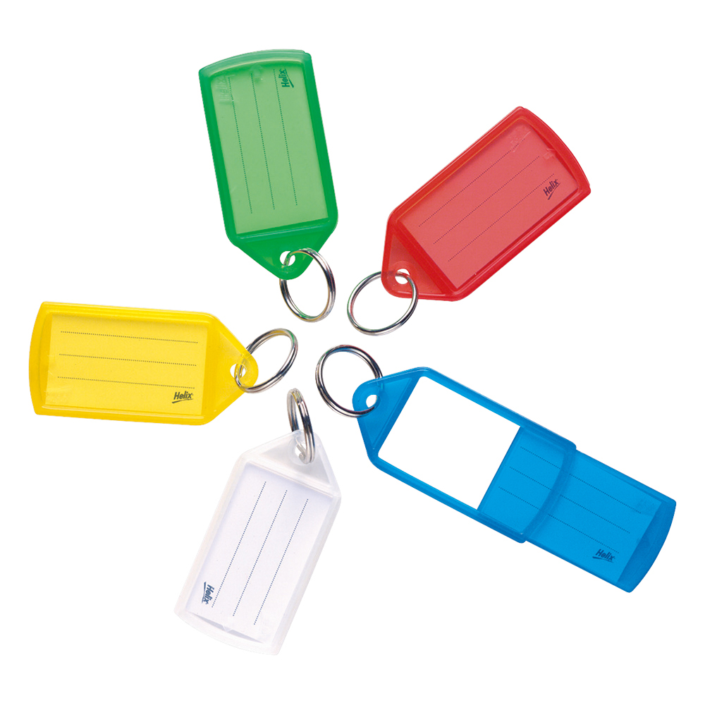 Business Key Hanger Sliding Fob Label Area 38x21mm Tag Size Medium 55x30mm Assorted [Pack 50]