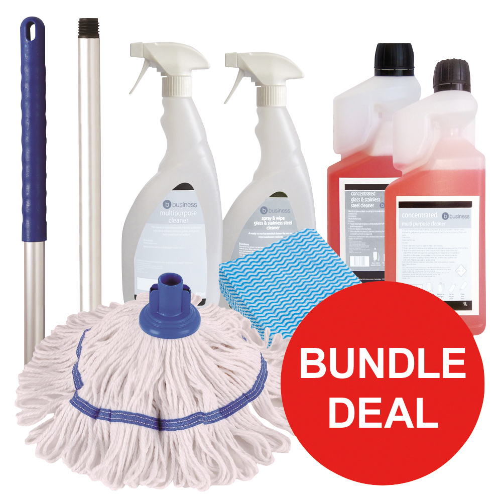 Business General Cleaning Bundle with Mop/Cloths/Cleaning Fluids [Bundle Offer]
