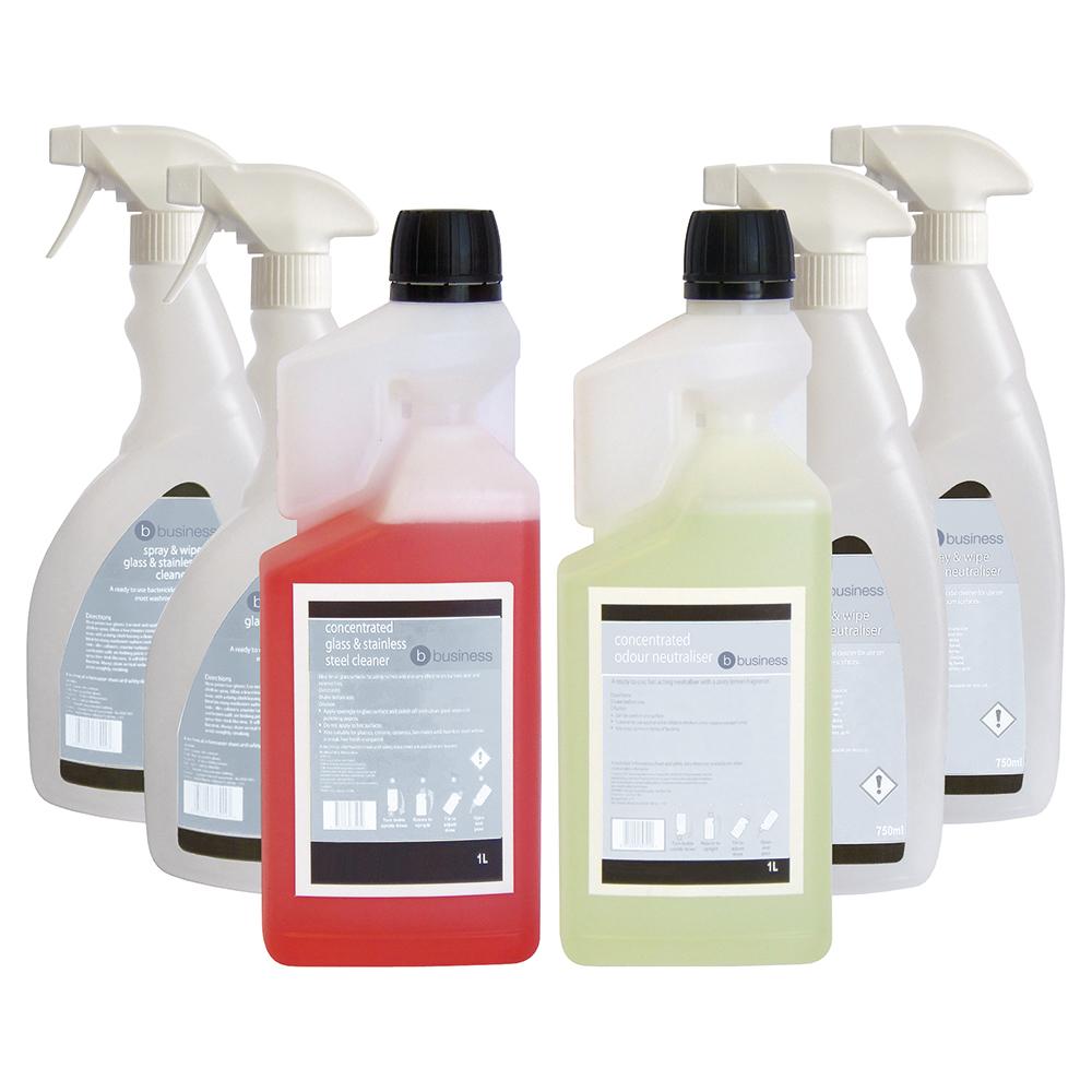 Business Glass/Stainless Steel Cleaner & Odour Neutraliser 1 Litre [FREE 750ml Trigger Bottles]