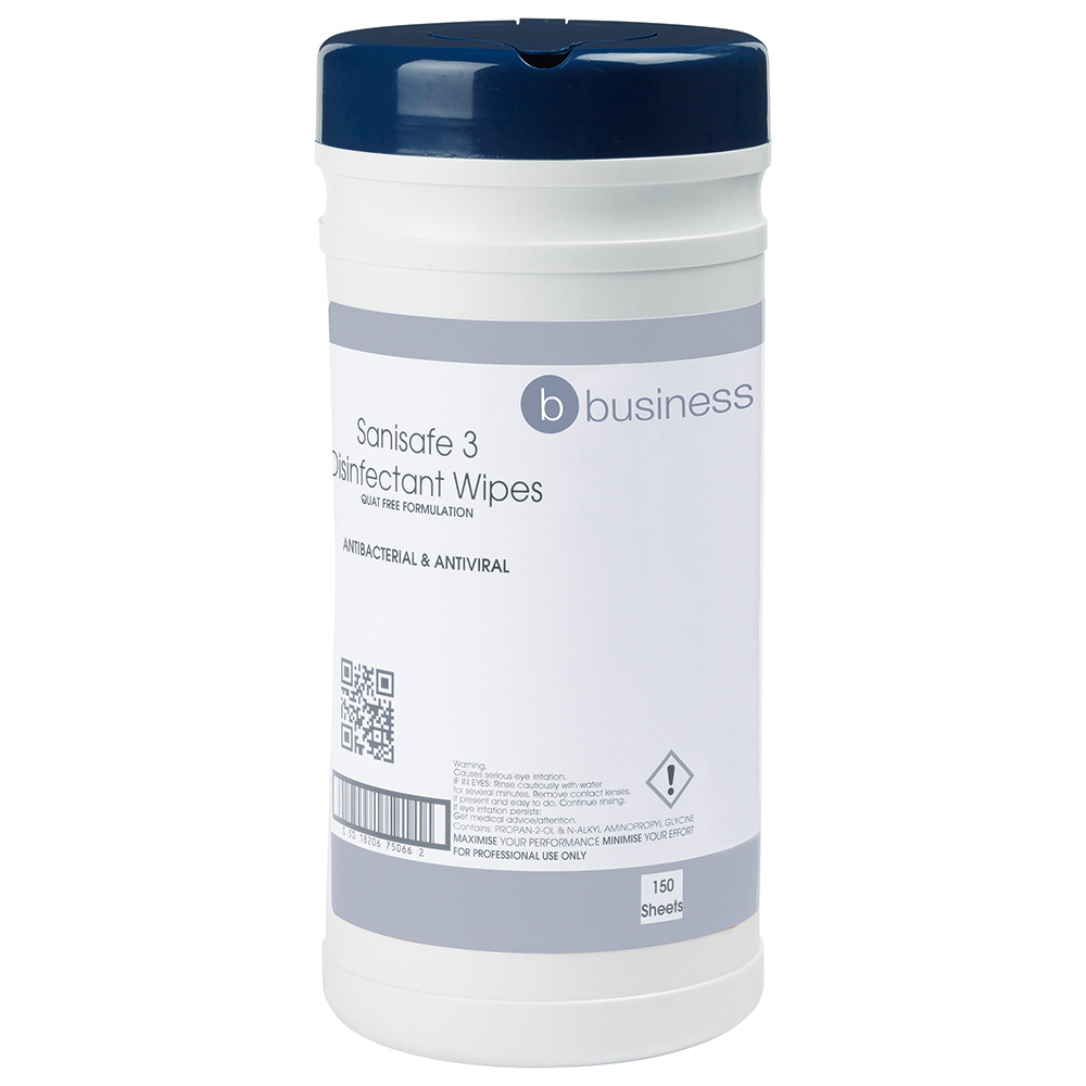 Business Disinfectant Wipes Anti-bacterial PHMB-free BPR Low-residue 19x20cm [Tub 150 Sheets]