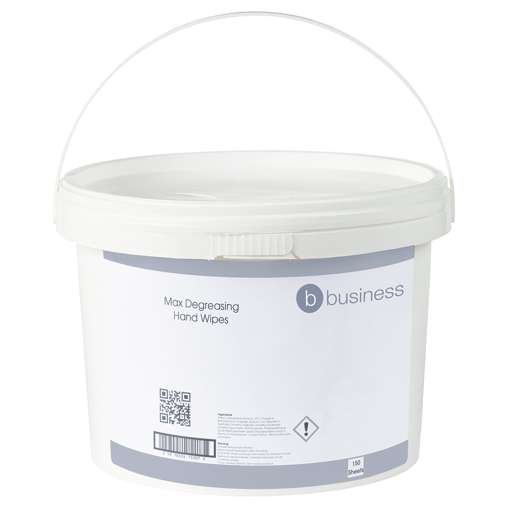 Business Hand & Surface Wipes Antibacterial Smooth 23gsm 28x28cm [Tub 150 Sheets]