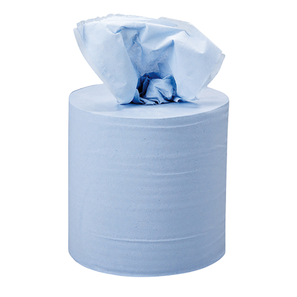Business Centrefeed Tissue Refill for Jumbo Dispenser Blue Two-ply L150mxW195mm [Pack 6]