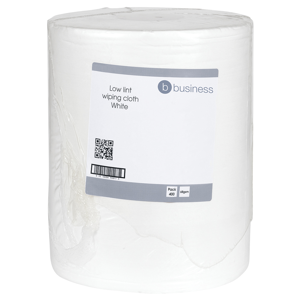 Business Cloths Low Lint Roll Multipurpose Solvent-resistant 30x36cm White [Roll 400]