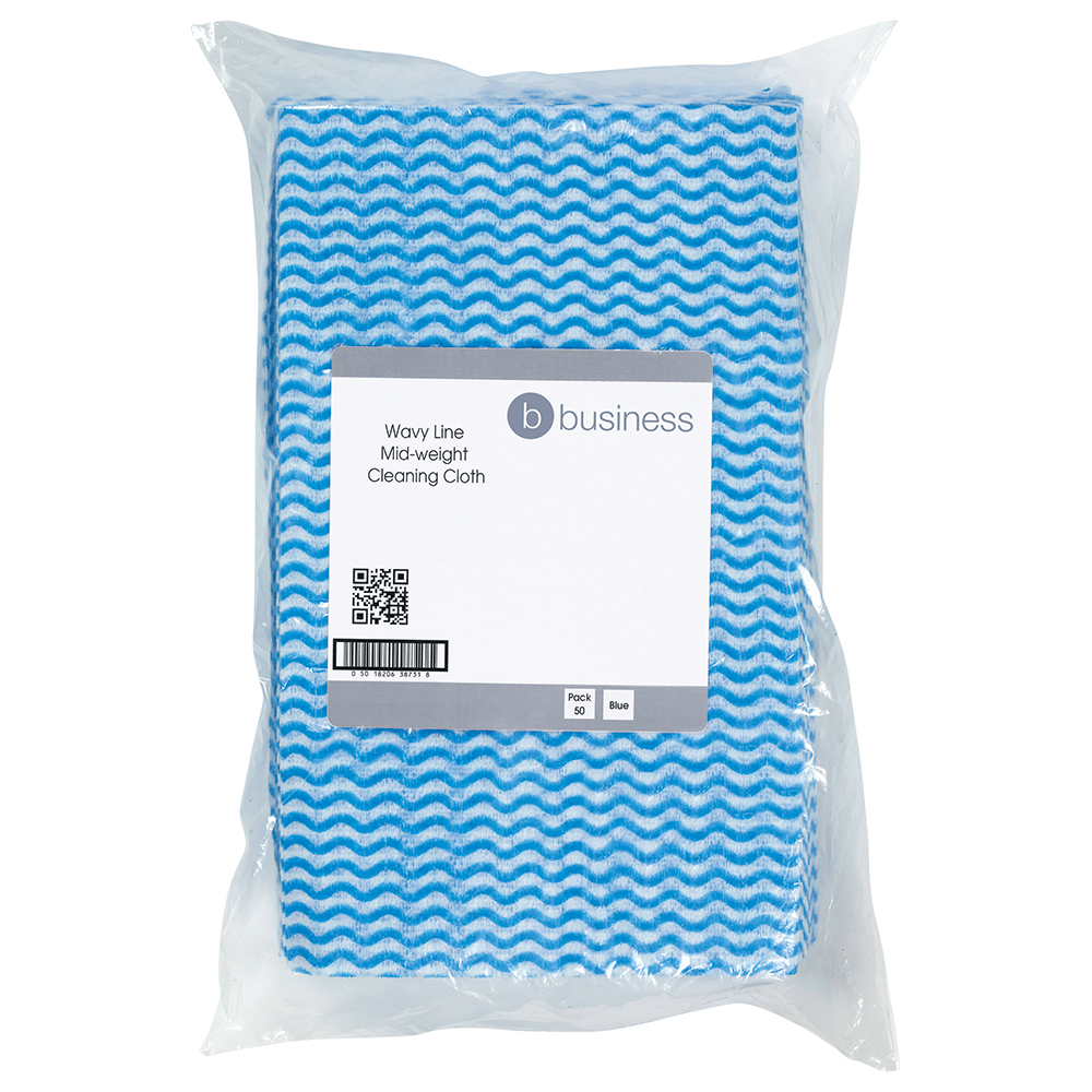 Business Cleaning Cloths Anti-microbial 40gsm W500xL300mm Wavy Line Blue [Pack 50]