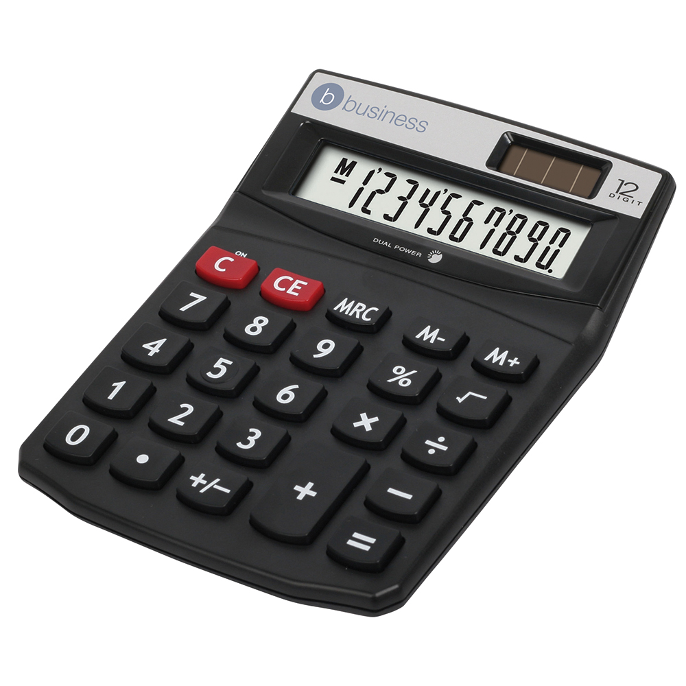 Business Calculator Desktop Solar/Battery Power 12 Digit 2 Set Memory