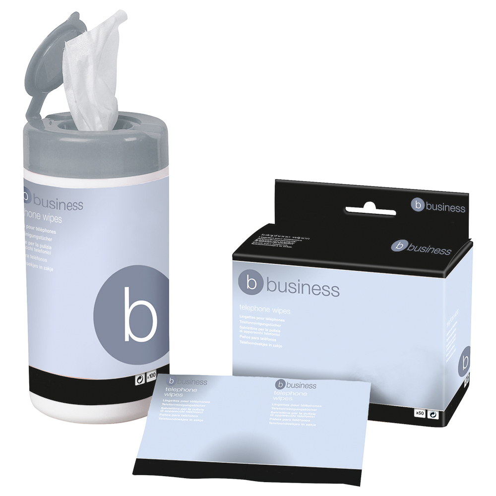 Business Cleaning Wipes for Telephone Bactericidal in Tub [Pack 100]
