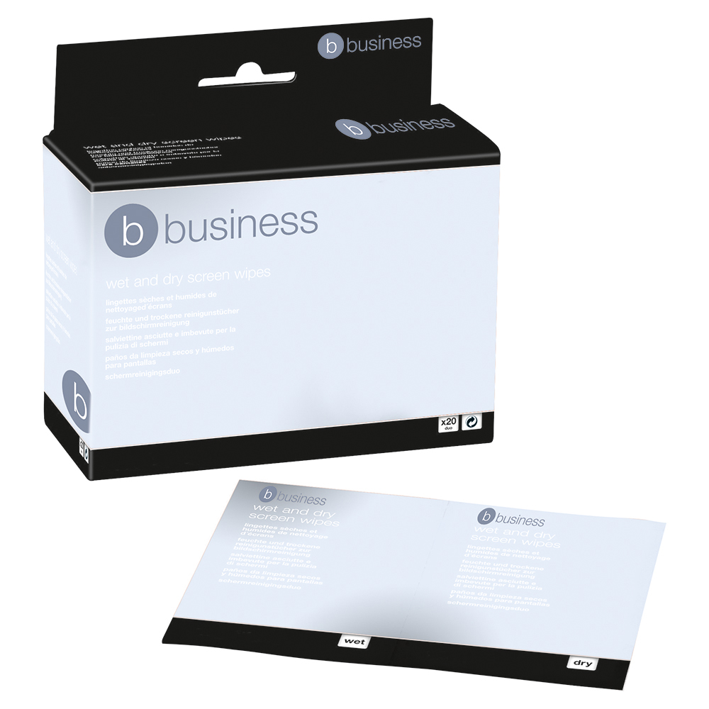 Business Screen Cleaning Duo Sachets Pairs of Wet and Dry Wipes [Pack 20x2]