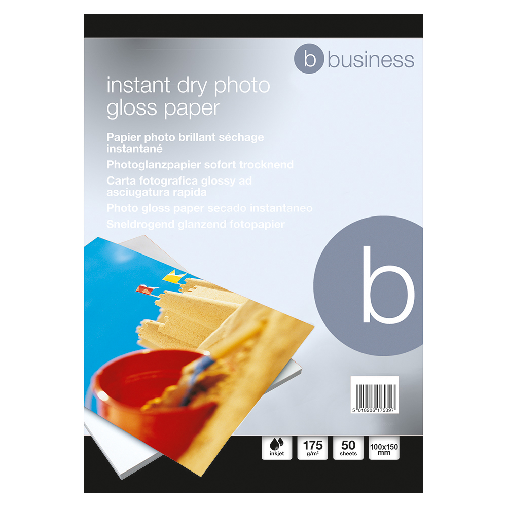 Business Paper Inkjet Photo Gloss Fast Drying 175gsm 100x150mm [50 Sheets]
