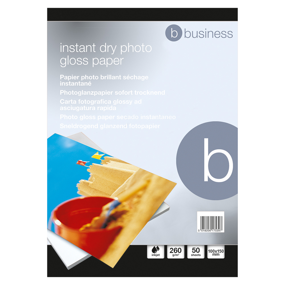 Business Paper Inkjet Photo Gloss Fast Drying 260gsm 100x150mm [50 Sheets]