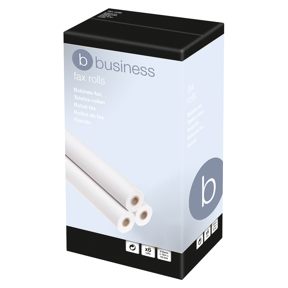 Business Fax Roll Thermal with 1m Warning Strip W216mmxL30mx12.7mm Core [Pack 6]
