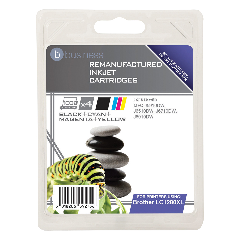 Business Remanufactured Inkjet Cartridge 3500pp 4-Colour [Brother LC1280XLVALP Alt] [Pack 4]