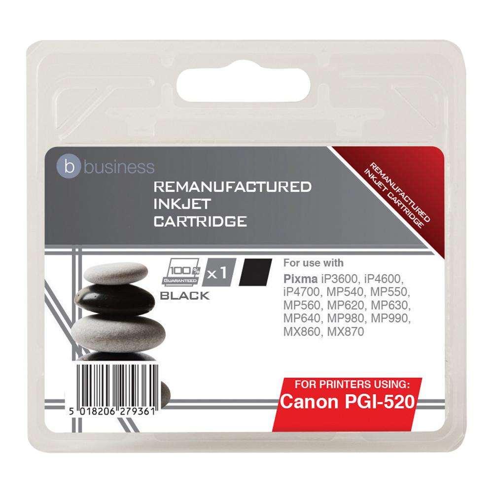 Business Remanufactured Inkjet Cartridge Page Life 350pp Black [Canon PGI-520BK Alternative]