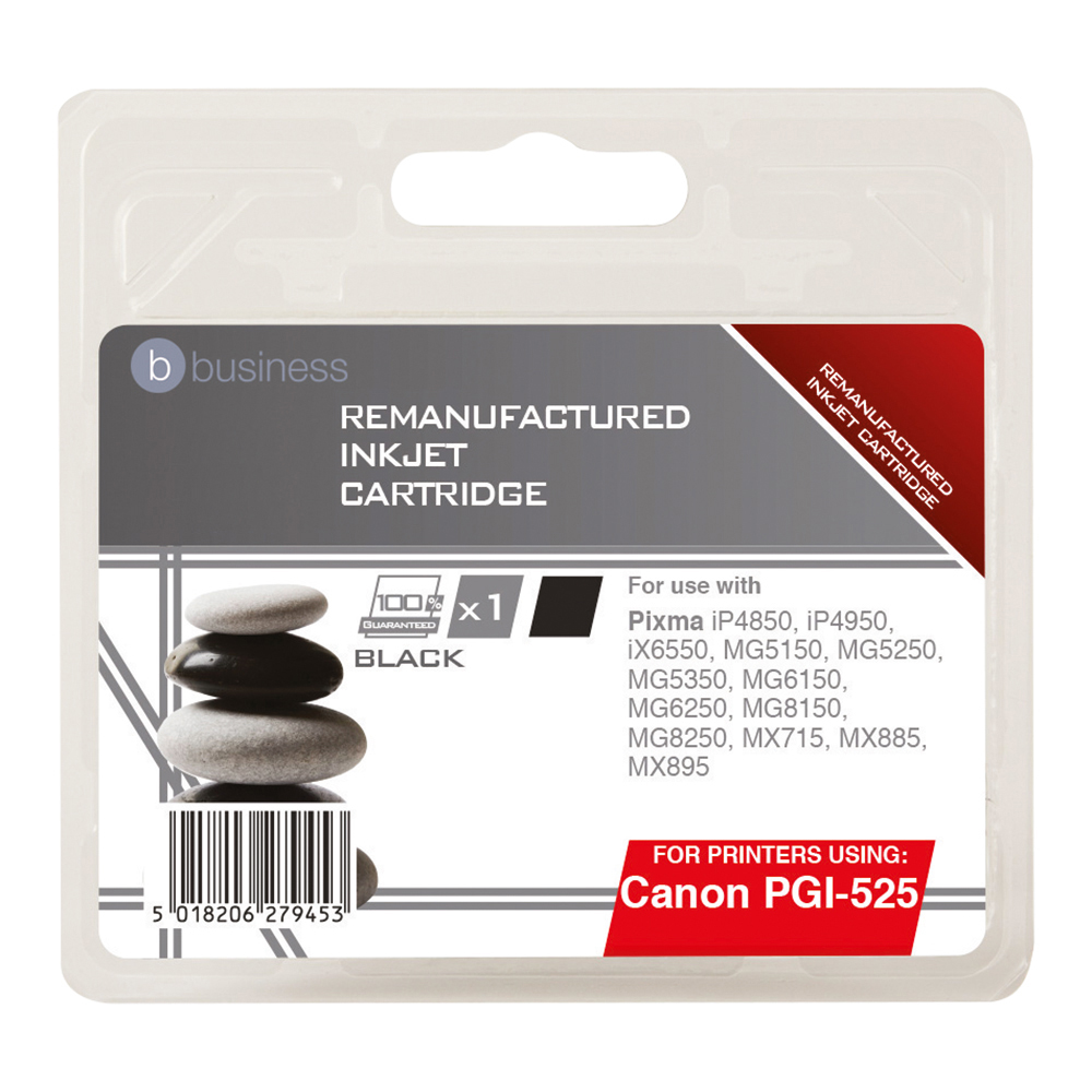 Business Remanufactured Inkjet Cartridge Page Life 323pp Black [Canon PGI-525BK Alternative]