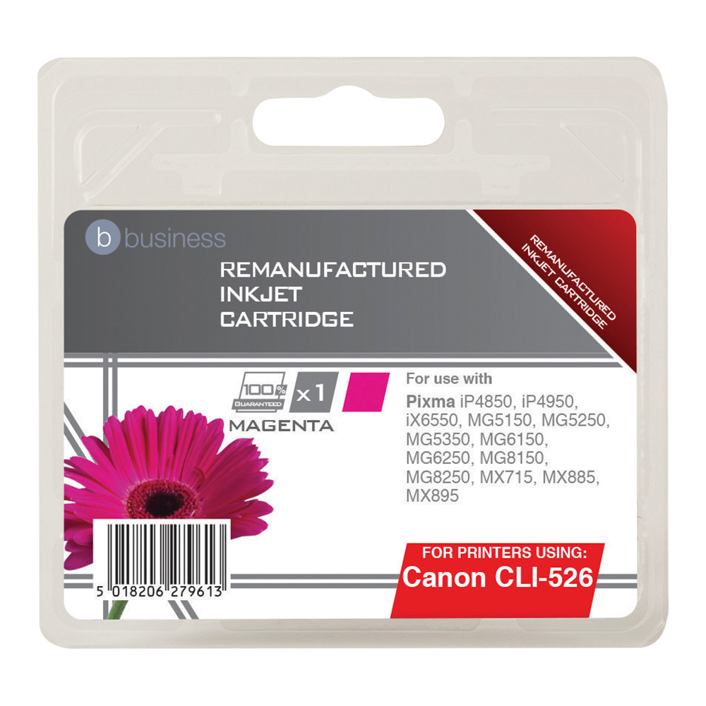 Business Remanufactured Inkjet Cartridge Page Life 545pp Magenta [Canon CLI-526M Alternative]
