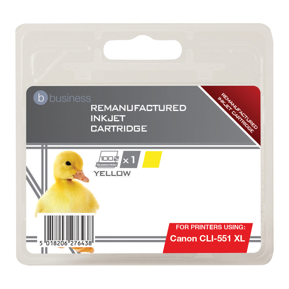 Business Remanufactured Inkjet Cartridge [Canon CLI-551 XL Alternative] Yellow