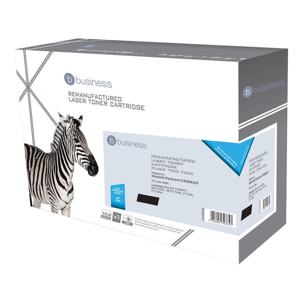 Business Remanufactured Laser Toner Cartridge 1600pp Black [HP 85A CE285AD Alternative] [Pack 2]