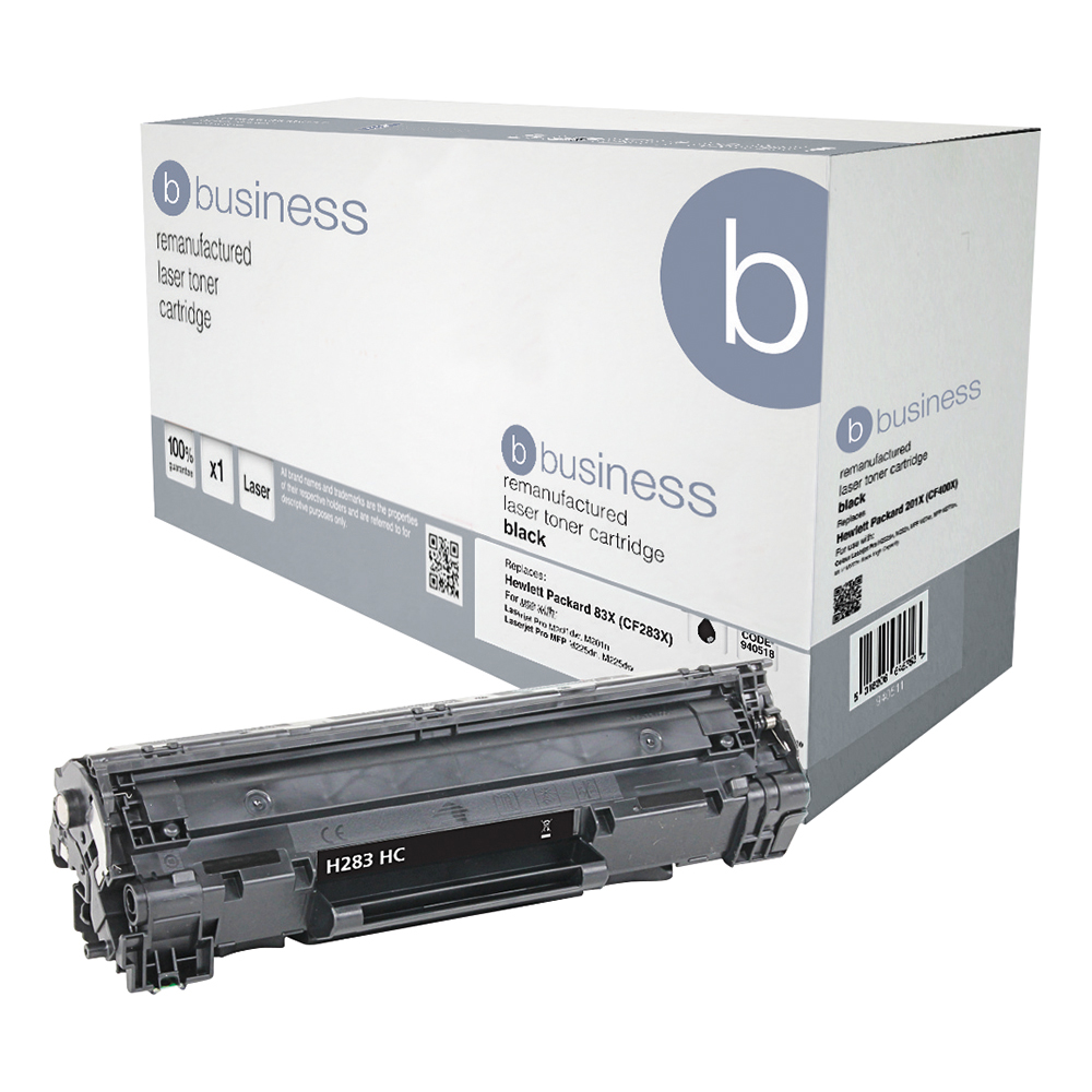 Business Remanufactured Laser Toner Cartridge 2200pp Black [HP No.83X CF283X HY Alternative]
