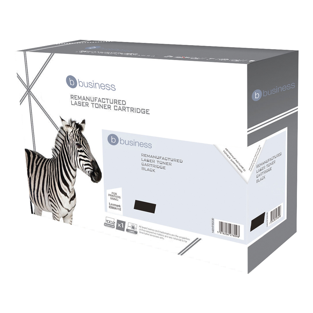Business Remanufactured Laser Toner Cartridge Page Life 3500pp Black [Lexmark E260A11E Alternative]