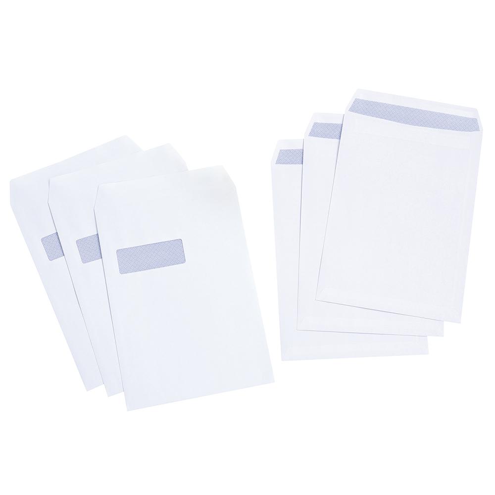 Basics Envelope Pocket Press Seal Window 100gsm White C4 [Pack 250]