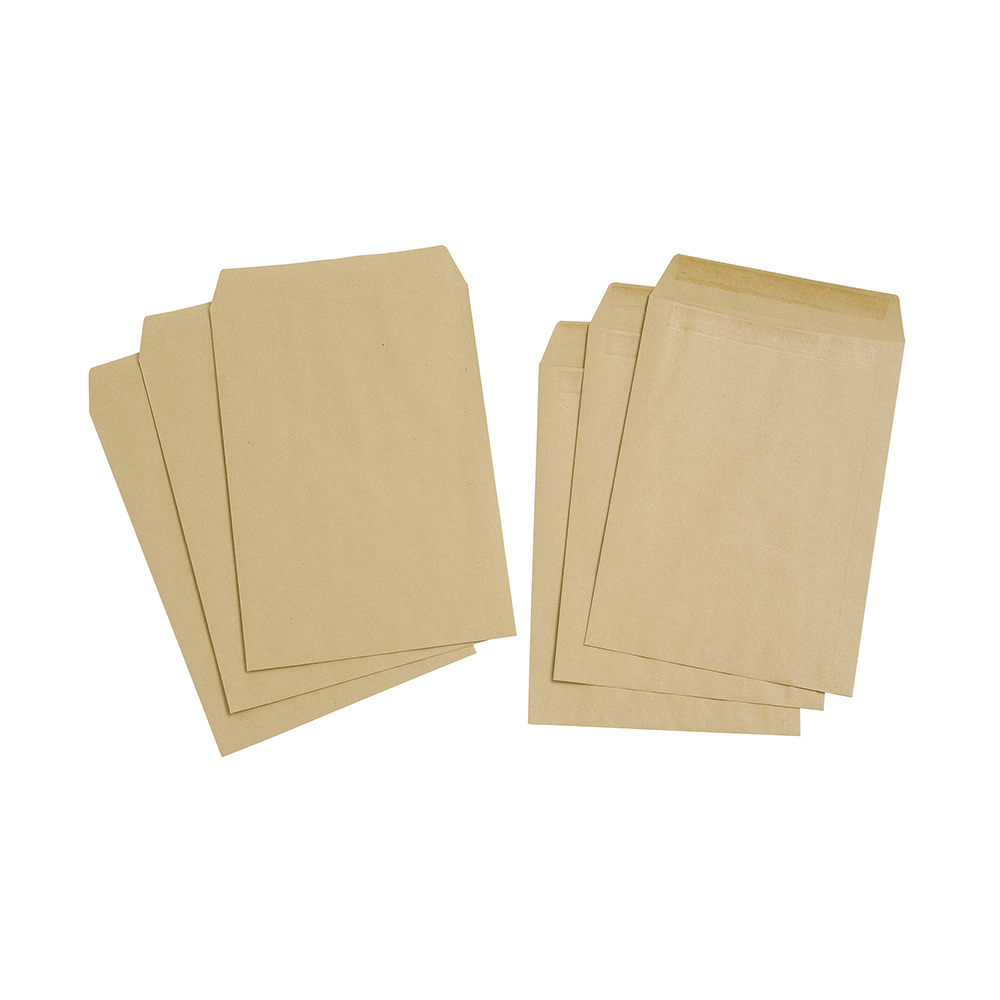 Basics Envelope Pocket Manilla Press Seal Plain C4 Buff [Pack 250]