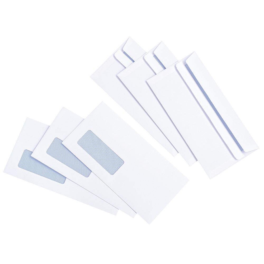 Basics Envelope White Press Seal Window Wallet DL 90gsm [Pack 1000]