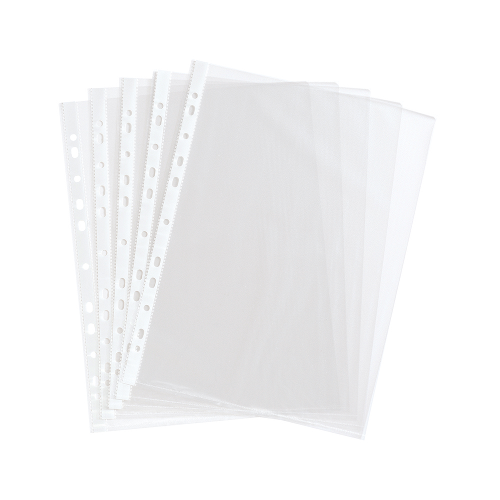 Basics Pockets Multi Punched 36 Microns A4 Clear [Pack 100]