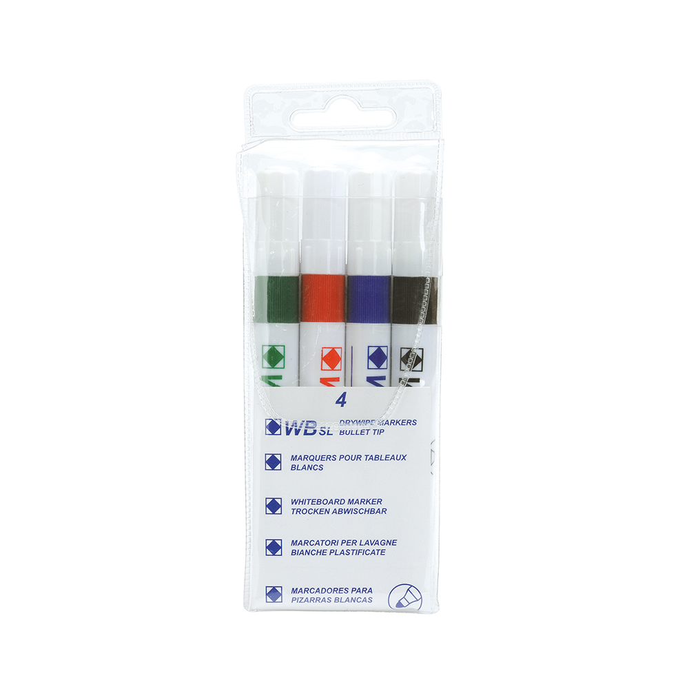 Basics Strategy SL Dry Wipe Markers Assorted [Pack 4]