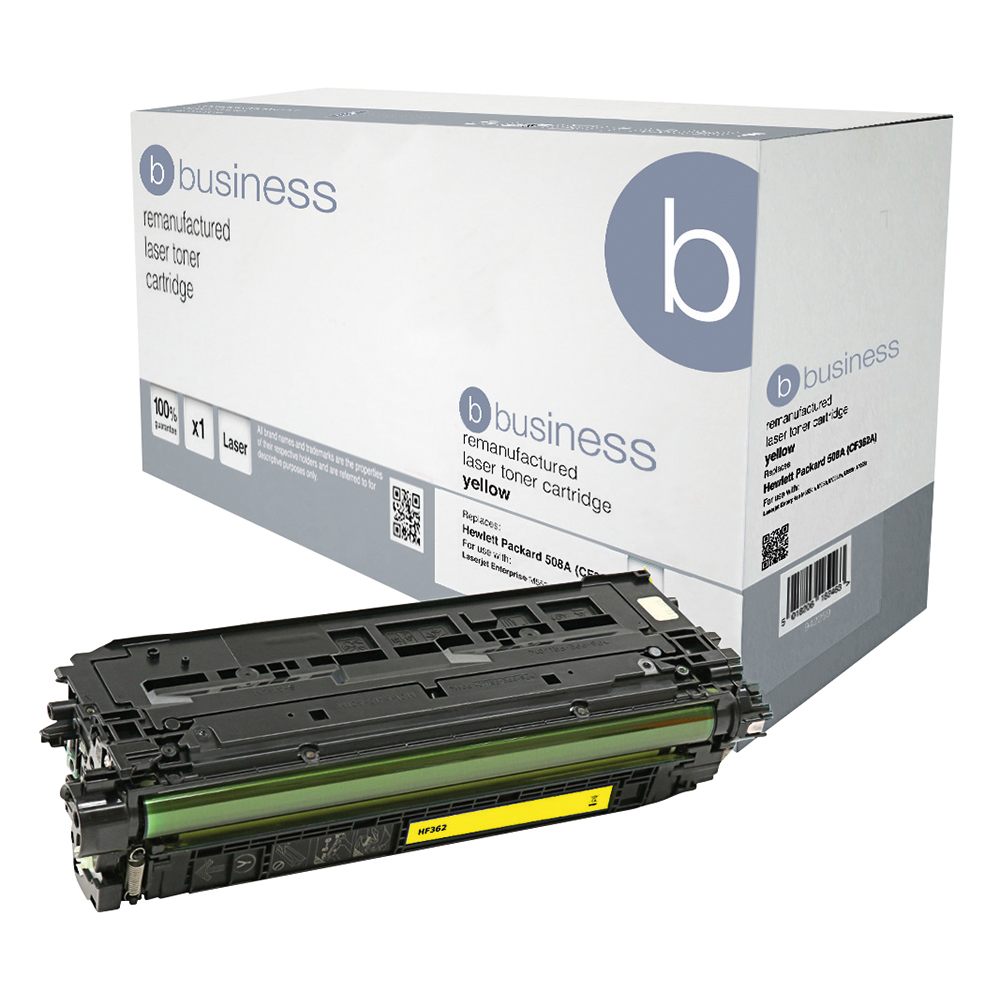 Business Remanufactured Laser Toner Cartridge 5000pp Yellow [HP No. 508A CF362A Alternative]