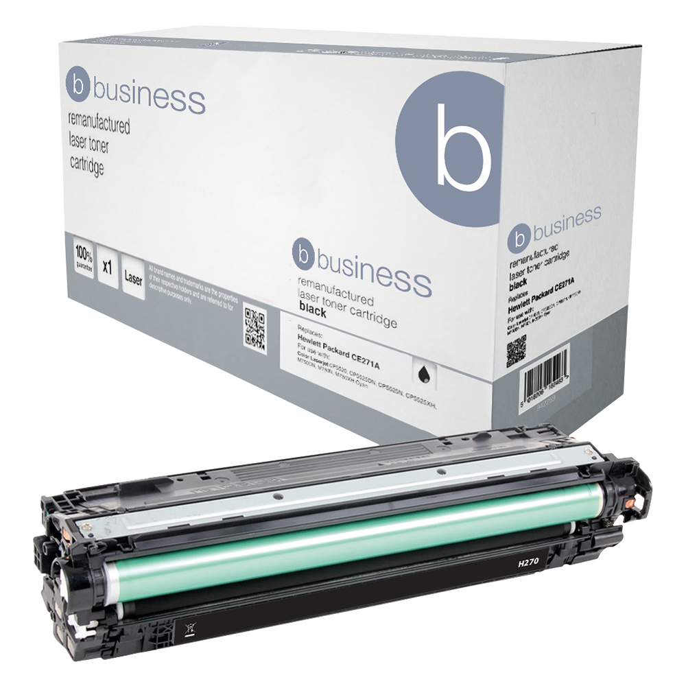 Business Remanufactured Laser Toner Cartridge Page Life 13500pp Black [HP 650A CE270A Alternative]