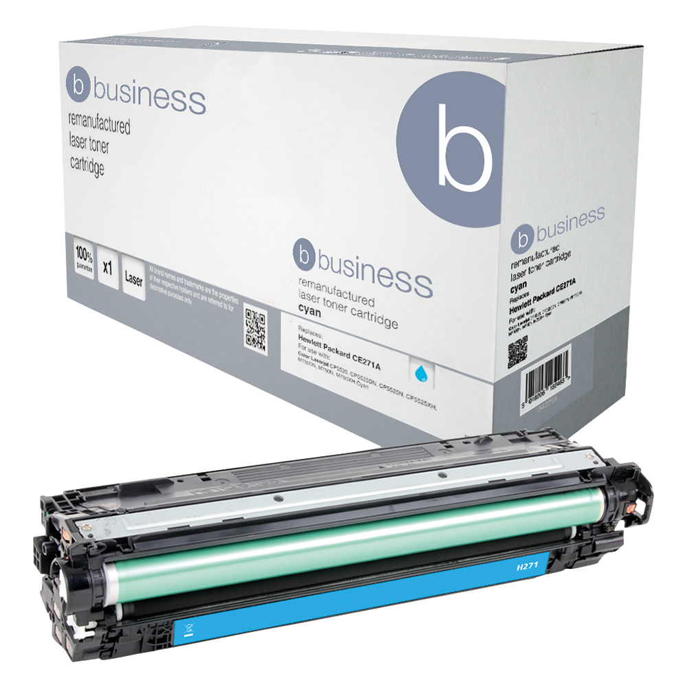 Business Remanufactured Laser Toner Cartridge Page Life 15000pp Cyan [HP 650A CE271A Alternative]