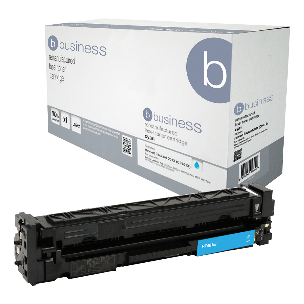 Business Remanufactured Laser Toner Cartridge Page Life 2800pp Cyan [HP 201X CF401X Alternative]