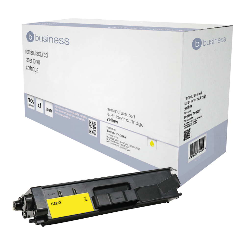Business Remanufactured Laser Toner Cartridge Page Life 3500pp Black [Brother TN326Y Alternative]