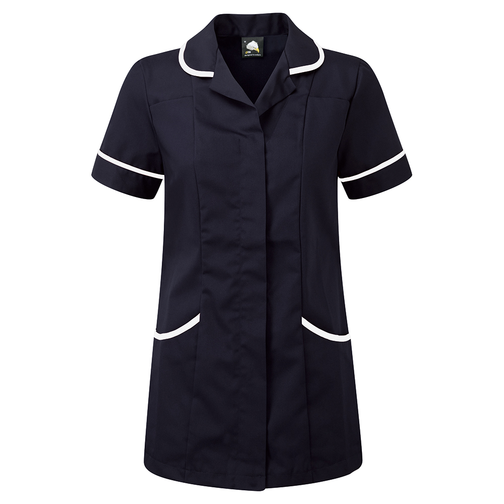 Business Ladies Tunic Concealed Zip Polycotton Size 20 Navy/White