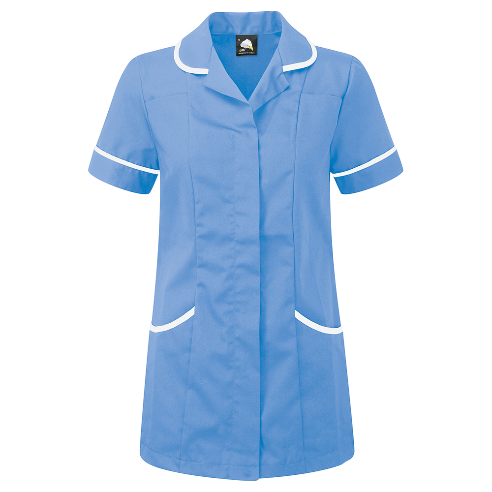 Business Ladies Tunic Concealed Zip Polycotton Size 6 Hospital Blue/White