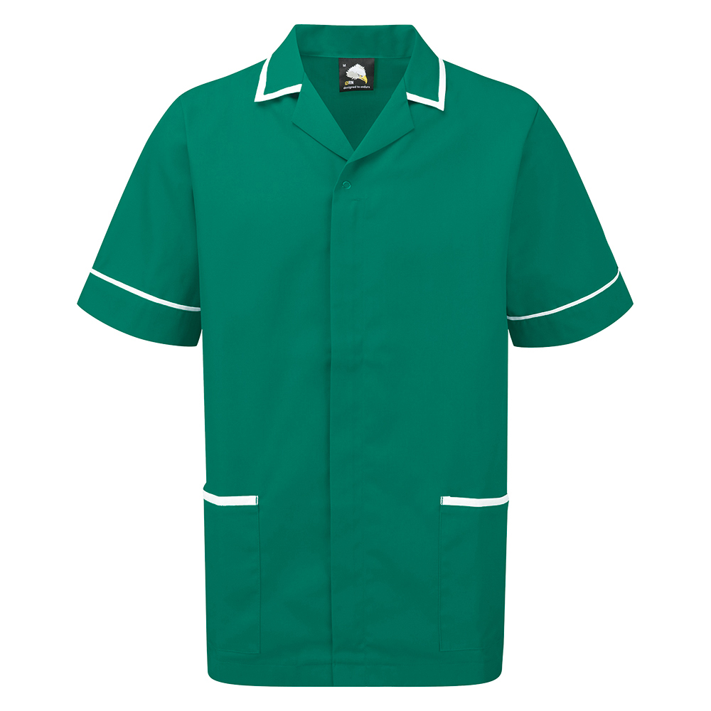 Business Mens Nursing Tunic Concealed Zip Size SmallBottle Green/White