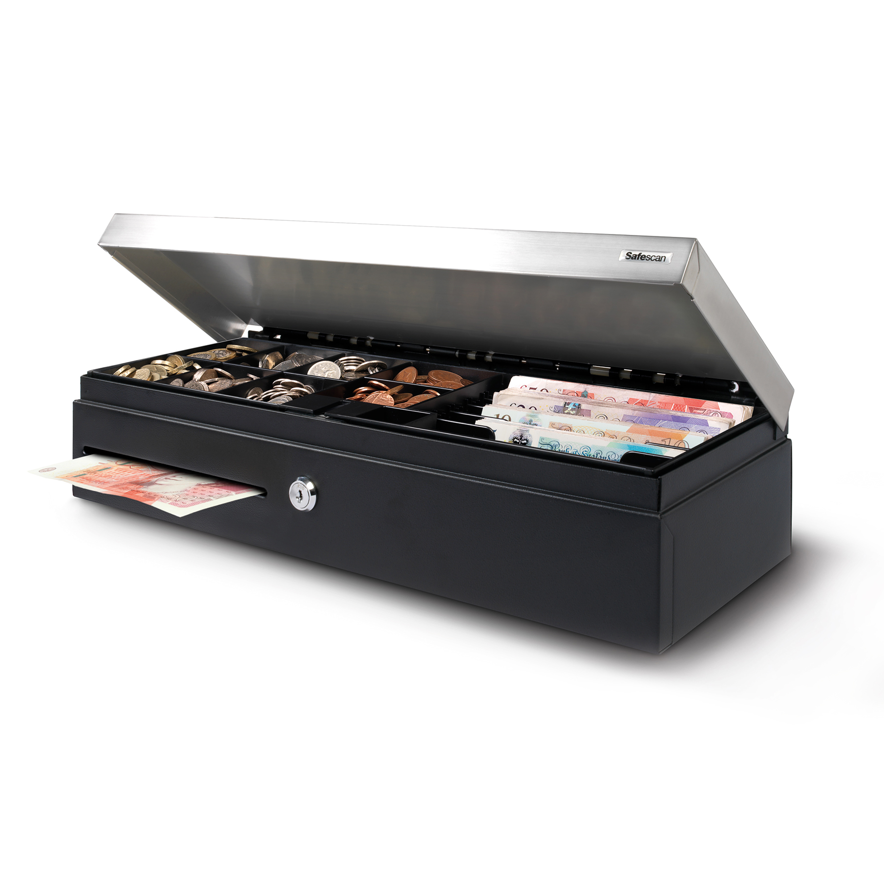 Cash or ticket boxes Safescan SD-4617S Cash Drawer Flip Top Standard Use 4.3kg L460xW170xH100m Black/Silver Ref 132-0498